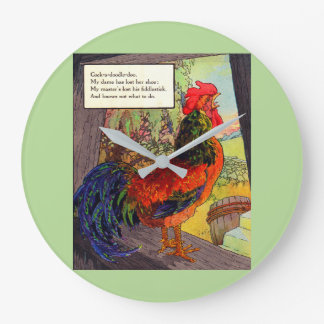 1920s Mother Goose - rooster Large Clock