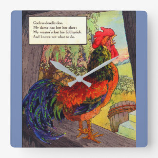 1920s Mother Goose - rooster Square Wall Clock