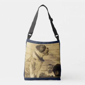 1920s pitbull guards baby crossbody bag