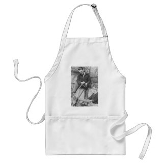 1920's Son Helping his father saw wood Aprons