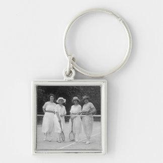 1920s Tennis Fashion Silver-Colored Square Key Ring