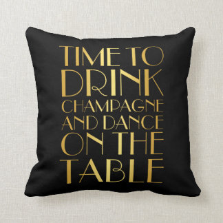 1920's Time to Drink Champagne Gold Pillow