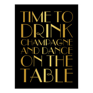 1920's Time to Drink Champagne Poster gold