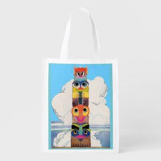 1920s totem pole reusable grocery bag