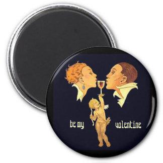 1920's Valentine Kiss 6 Cm Round Magnet