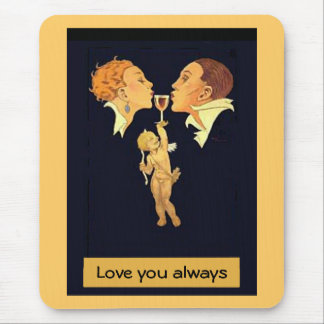 1920's Valentine Kiss Mouse Pad