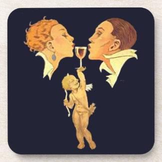 1920's Valentine Kiss retro art Beverage Coasters