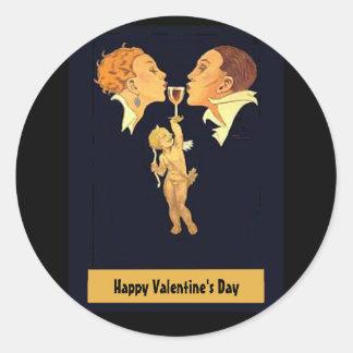1920's Valentine Kiss Round Sticker