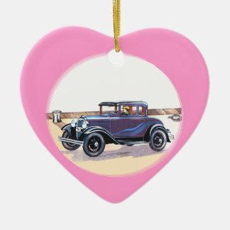 1920s Vintage Automobile Romantic Pink Heart Ceramic Ornament