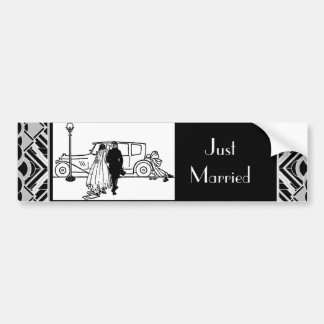 1920's Vintage Bride & Groom Bumper Stickers