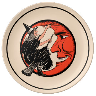 1920s Vintage Halloween Witch Plate