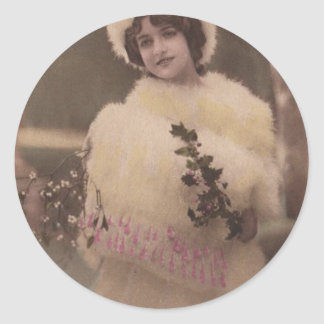 1920s Vintage Model in the Snow Classic Round Sticker