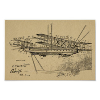 1921 Airship Airplane Patent Art Drawing Print