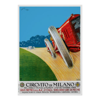 1922 Milano Classic Car Race Poster