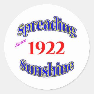 1922 Spreading Sunshine Round Sticker