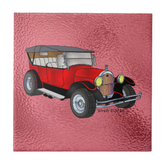 1923 Olds Touring, Red - Small Square Tile