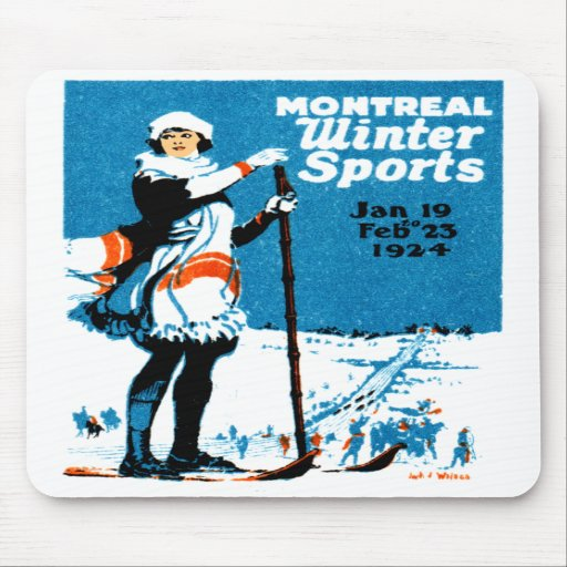 1924 Montreal Winter Sports Poster Mouse Pads