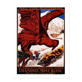 1924 Olympic Winter Games Poster Postcard