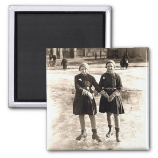 1925 Girlfriends Ice Skating Square Magnet