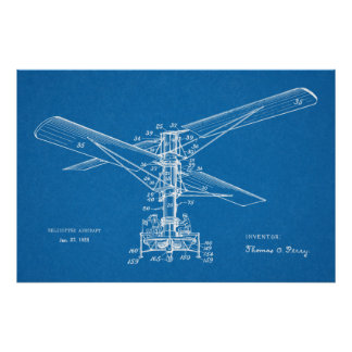 1925 Helicopter Flying Machine Patent Art Drawing Poster