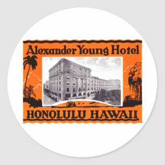 1925 Young Hotel Honolulu Hawaii Classic Round Sticker