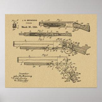 1926 Browning Shotgun Patent Art Drawing Print