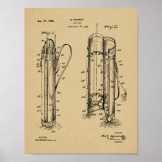 1926 Golf Club Caddy Bag Design Patent Art Print