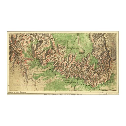 1926 Map of Grand Canyon National Park Arizona Stretched Canvas Prints