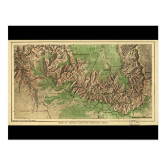 1926 Map of Grand Canyon National Park Arizona Postcard