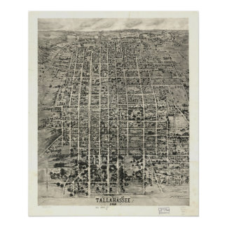 1926 Tallahassee, FL Birds Eye View Panoramic Map Poster