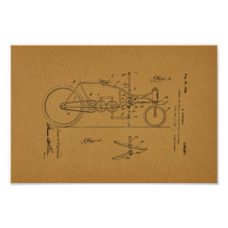 1926 Vintage Bicycle Velocipede Patent Art Print