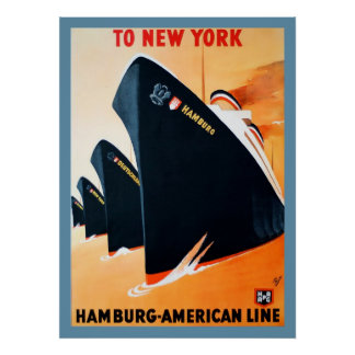 1927 Hamburg to New York Ship Poster