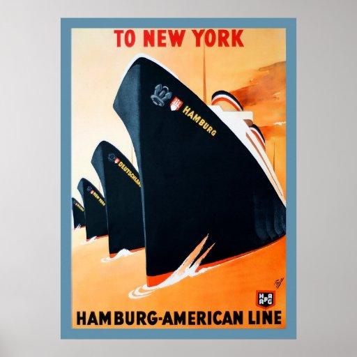 1927 Hamburg to New York Ship Poster