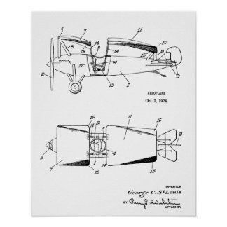 1928 Roadable Airplane Patent Art Drawing Print
