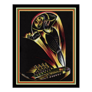 1929 Art Deco Football Poster 16 x 20