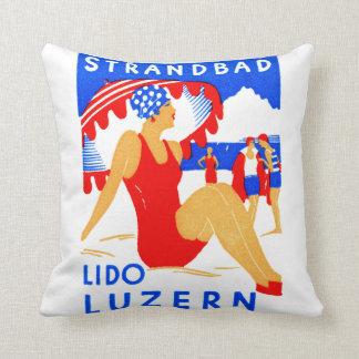 1929 Art Deco Strandbad Lido Luzern Cushion