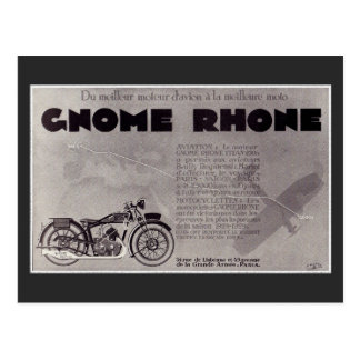 1929 French motorcycle ad , Paris Saigon Postcard