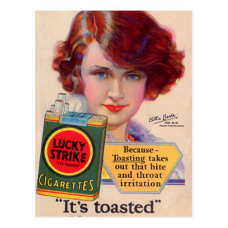 1929 Lucky Strikes ad with Billie Burke Postcard