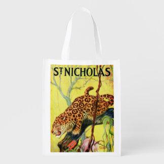 1929 St. Nicholas magazine cover leopard Reusable Grocery Bag