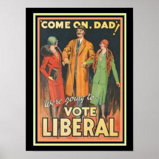 1929 Vote Liberal Political Ad 12 x 16 Poster