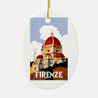 1930 Florence Italy Duomo Travel Poster Ceramic Ornament