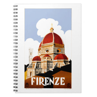 1930 Florence Italy Travel Poster Notebook