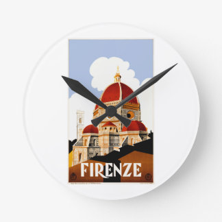 1930 Florence Italy Travel Poster Round Clock
