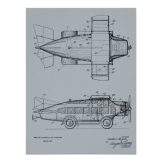 1930 Flying Car Airplane Patent Art Drawing Print