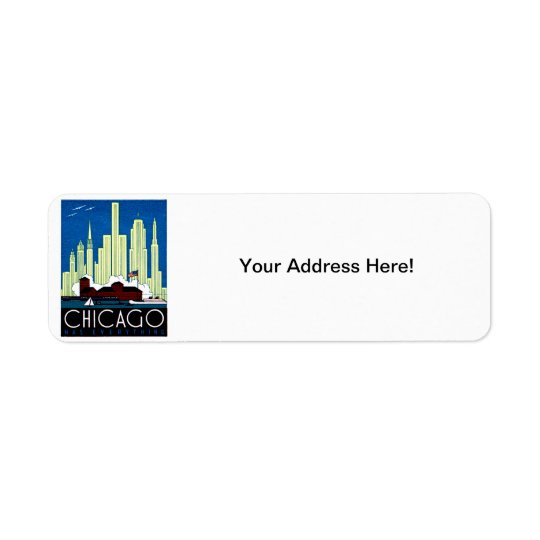 1930 Visit Chicago Poster Return Address Label