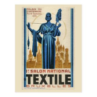 1930s Art Deco Brussels first textile fair Postcard