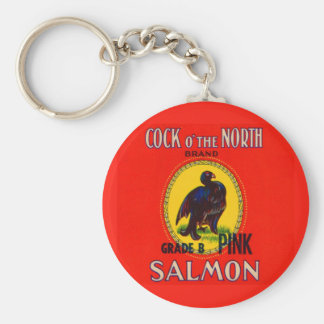 1930s Cock of the North salmon can label Key Ring