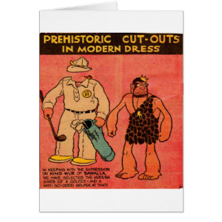 1930s comic strip caveman paper doll King Wur Greeting Card