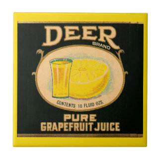 1930s Deer Brand Grapefruit Juice label Small Square Tile