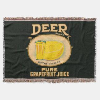 1930s Deer Brand Grapefruit Juice label Throw Blanket